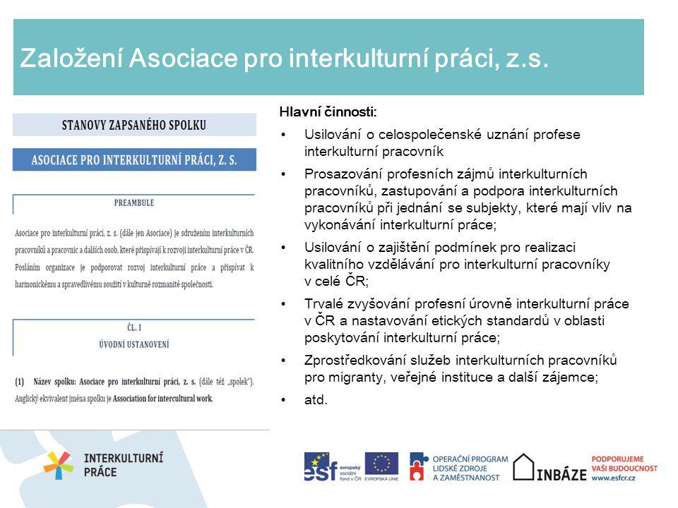 Založení Asociace pro interkulturní práci, z.s. Hlavní činnosti: Usilování o celospolečenské uznání profese interkulturní pracovník Prosazování profes