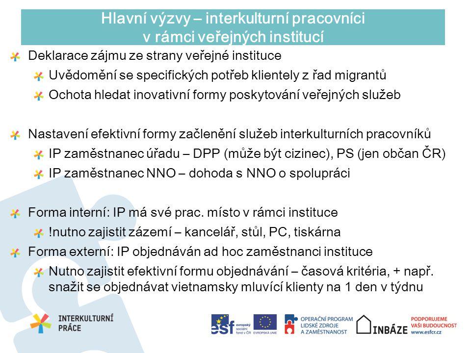 Deklarace zájmu ze strany veřejné instituce Uvědomění se specifických potřeb klientely z řad migrantů Ochota hledat inovativní formy poskytování veřej