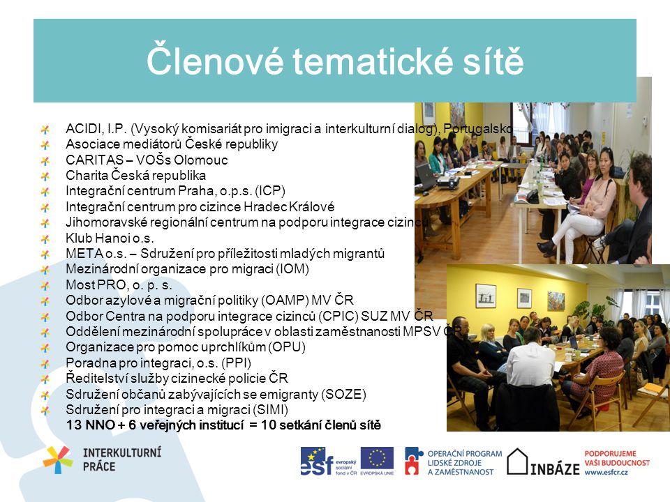 Členové tematické sítě ACIDI, I.P. (Vysoký komisariát pro imigraci a interkulturní dialog), Portugalsko Asociace mediátorů České republiky CARITAS – V