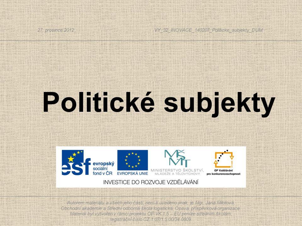  Soubor institucí, které zprostředkovávají vztah mezi lidmi a vládou = volby, volební kampaň, politické strany a hnutí, zájmové organizace, státní orgány, veřejné mínění, masmédia a vztahy mezi nimi.