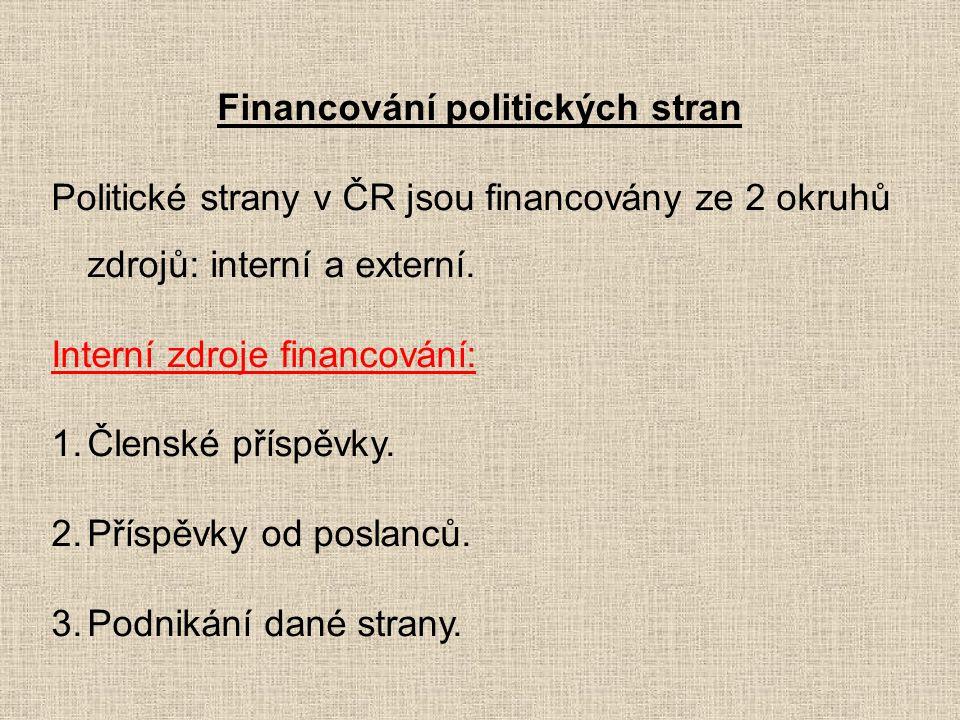 Financování politických stran Politické strany v ČR jsou financovány ze 2 okruhů zdrojů: interní a externí. Interní zdroje financování: 1.Členské přís