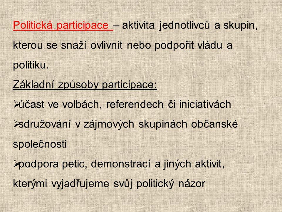 Politická participace – aktivita jednotlivců a skupin, kterou se snaží ovlivnit nebo podpořit vládu a politiku. Základní způsoby participace:  účast