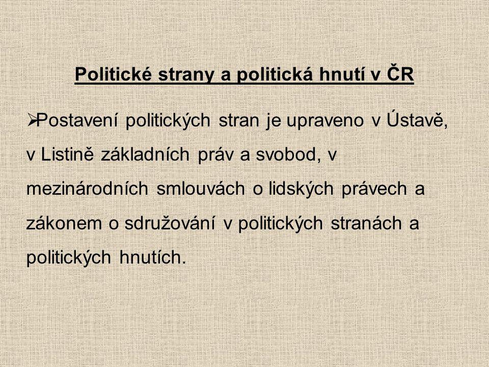 Politické strany a politická hnutí v ČR  Postavení politických stran je upraveno v Ústavě, v Listině základních práv a svobod, v mezinárodních smlouv