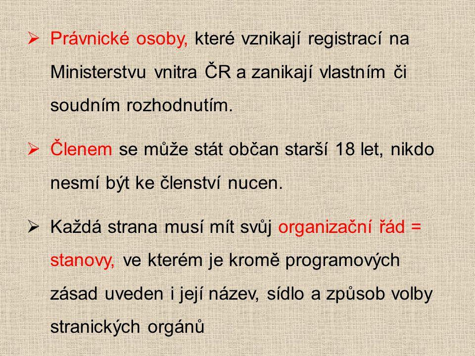  Právnické osoby, které vznikají registrací na Ministerstvu vnitra ČR a zanikají vlastním či soudním rozhodnutím.  Členem se může stát občan starší