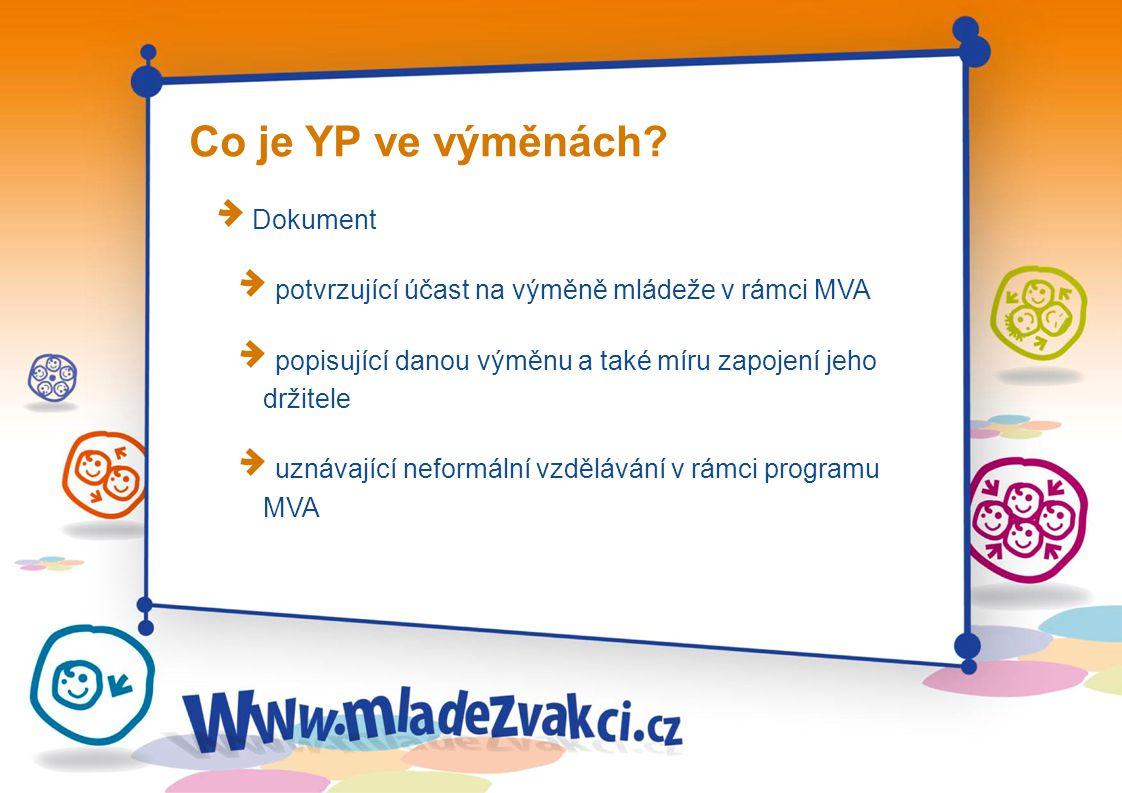 Co je YP ve výměnách? Dokument potvrzující účast na výměně mládeže v rámci MVA popisující danou výměnu a také míru zapojení jeho držitele uznávající n