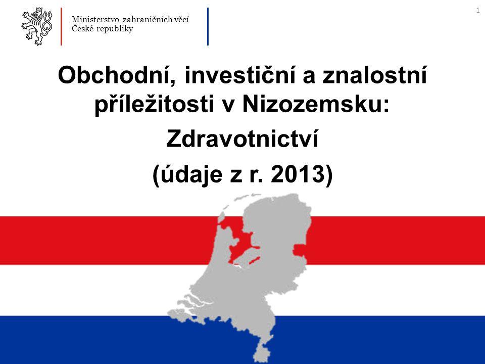 1 Ministerstvo zahraničních věcí České republiky Obchodní, investiční a znalostní příležitosti v Nizozemsku: Zdravotnictví (údaje z r.
