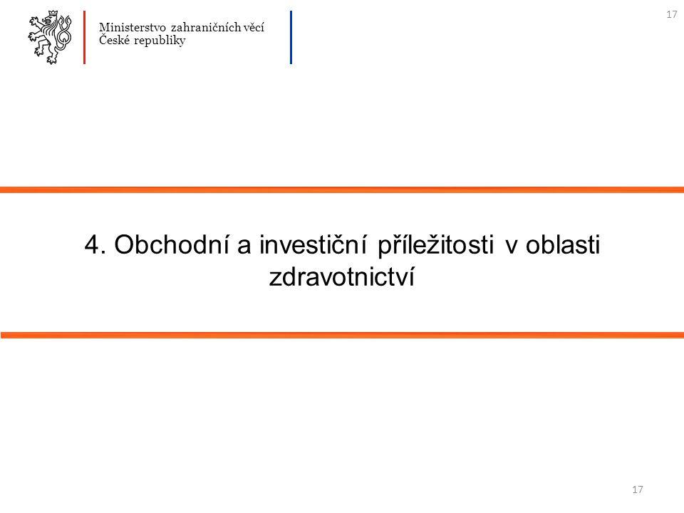 17 4. Obchodní a investiční příležitosti v oblasti zdravotnictví Ministerstvo zahraničních věcí České republiky 17