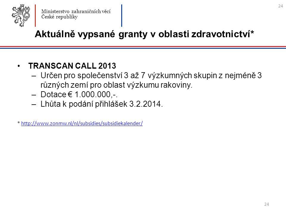 24 Aktuálně vypsané granty v oblasti zdravotnictví* TRANSCAN CALL 2013 –Určen pro společenství 3 až 7 výzkumných skupin z nejméně 3 různých zemí pro oblast výzkumu rakoviny.