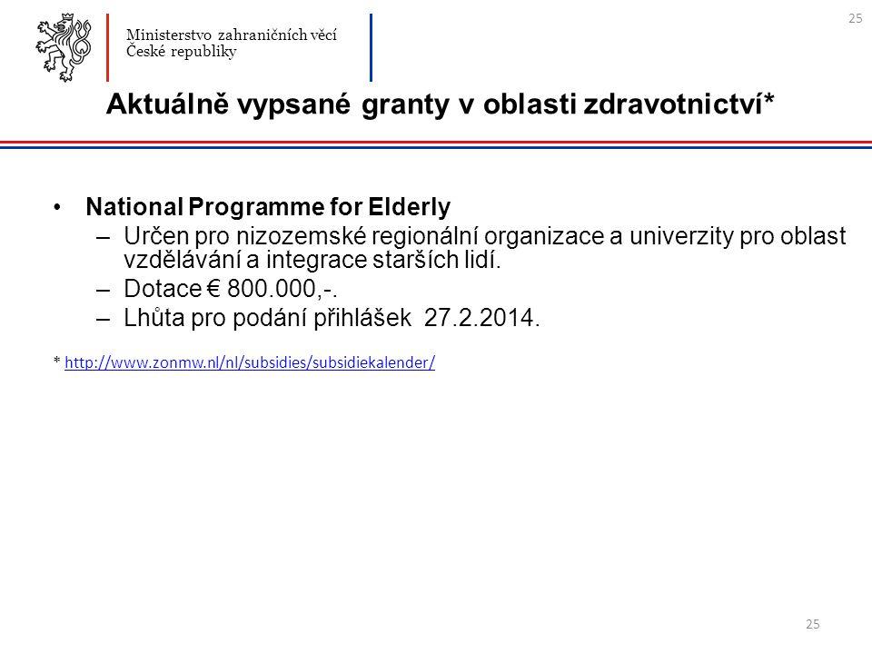 25 Aktuálně vypsané granty v oblasti zdravotnictví* National Programme for Elderly –Určen pro nizozemské regionální organizace a univerzity pro oblast vzdělávání a integrace starších lidí.