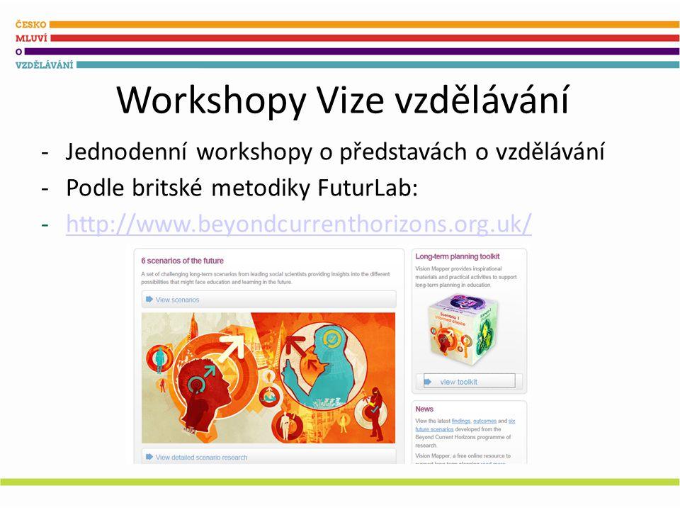 Workshopy Vize vzdělávání -Jednodenní workshopy o představách o vzdělávání -Podle britské metodiky FuturLab: -http://www.beyondcurrenthorizons.org.uk/http://www.beyondcurrenthorizons.org.uk/