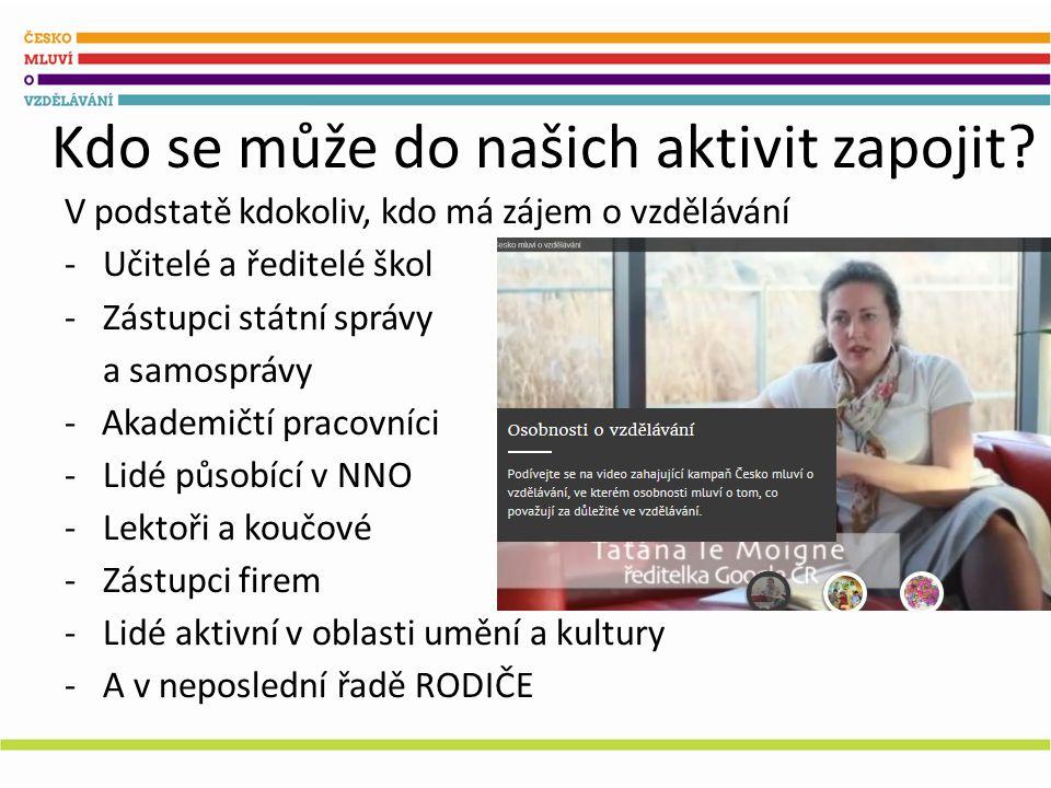 Jak podpořit Česko mluví o vzdělávání? Řekněte o tom kolem sebe Přihlašte se ke kampani
