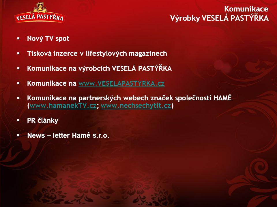 Komunikace Výrobky VESELÁ PASTÝŘKA  Nový TV spot  Tisková inzerce v lifestylových magazínech  Komunikace na výrobcích VESELÁ PASTÝŘKA  Komunikace