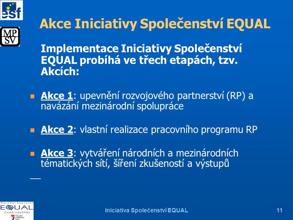 Iniciativa Společenství EQUAL11 Akce Iniciativy Společenství EQUAL Implementace Iniciativy Společenství EQUAL probíhá ve třech etapách, tzv.