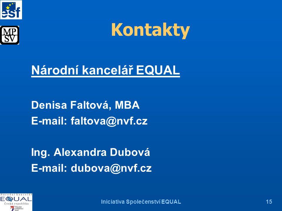 Iniciativa Společenství EQUAL15 Kontakty Národní kancelář EQUAL Denisa Faltová, MBA E-mail: faltova@nvf.cz Ing.