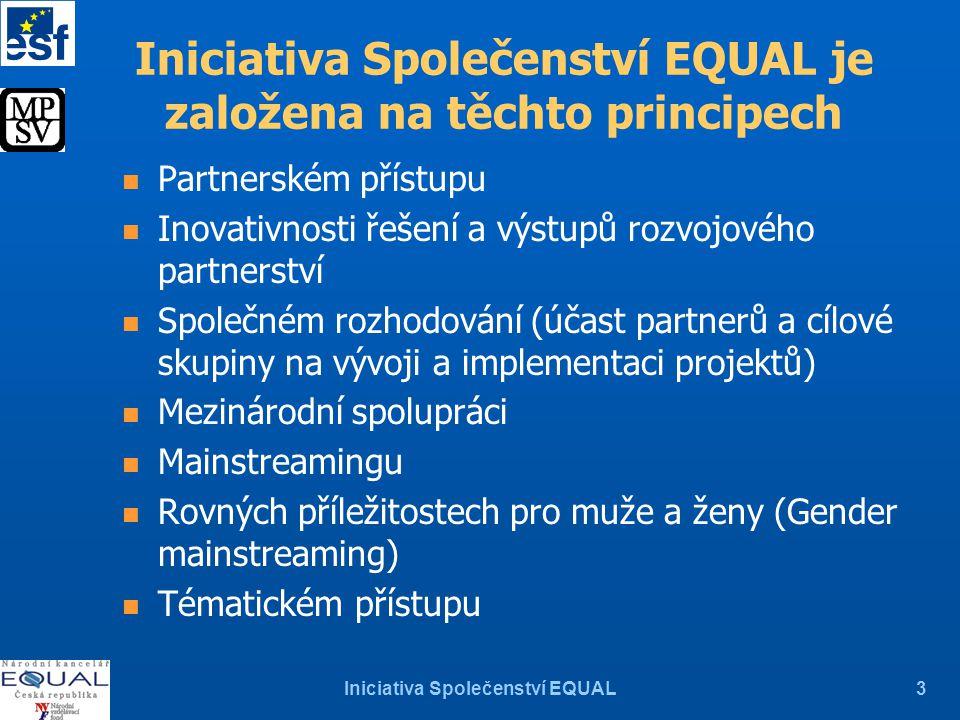 Iniciativa Společenství EQUAL3 Iniciativa Společenství EQUAL je založena na těchto principech n Partnerském přístupu n Inovativnosti řešení a výstupů rozvojového partnerství n Společném rozhodování (účast partnerů a cílové skupiny na vývoji a implementaci projektů) n Mezinárodní spolupráci n Mainstreamingu n Rovných příležitostech pro muže a ženy (Gender mainstreaming) n Tématickém přístupu