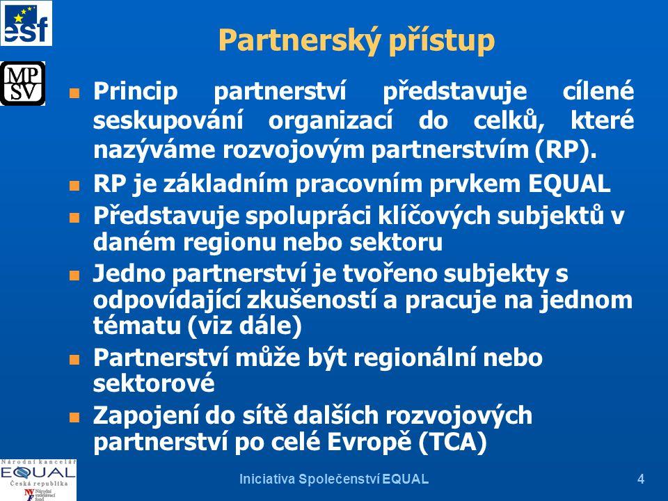 Iniciativa Společenství EQUAL4 Partnerský přístup n Princip partnerství představuje cílené seskupování organizací do celků, které nazýváme rozvojovým partnerstvím (RP).