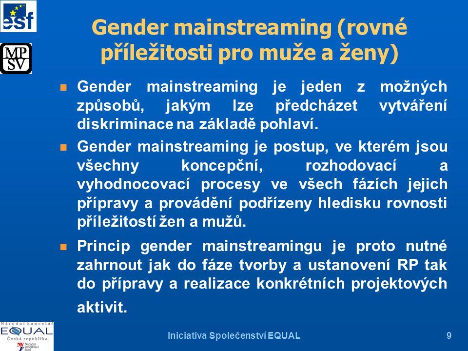 Iniciativa Společenství EQUAL9 Gender mainstreaming (rovné příležitosti pro muže a ženy) Gender mainstreaming je jeden z možných způsobů, jakým lze předcházet vytváření diskriminace na základě pohlaví.