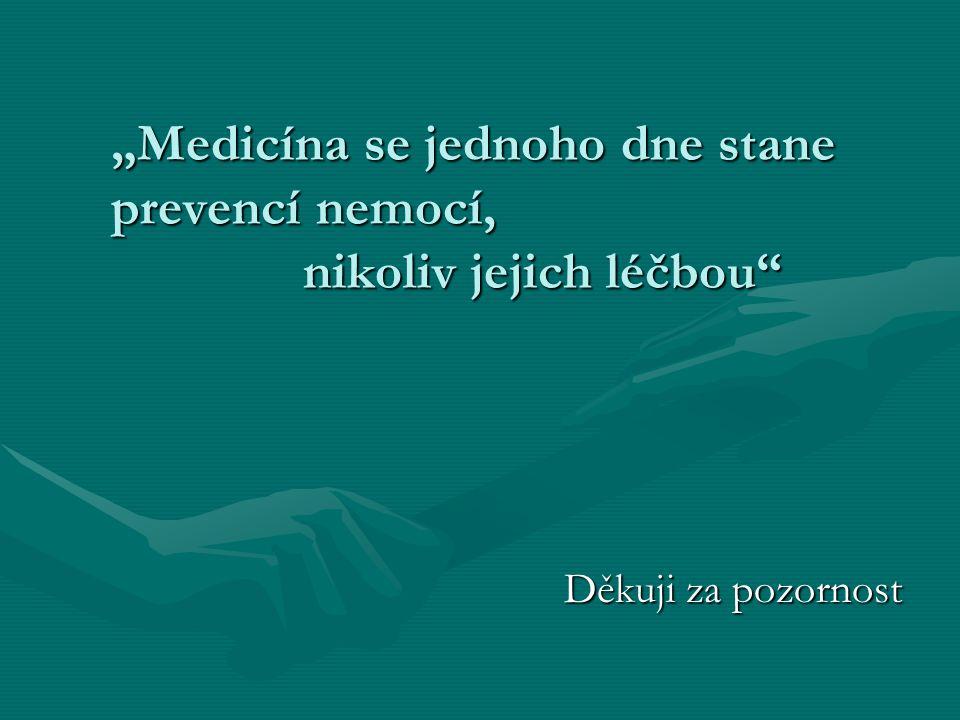 """""""Medicína se jednoho dne stane prevencí nemocí, nikoliv jejich léčbou Děkuji za pozornost"""