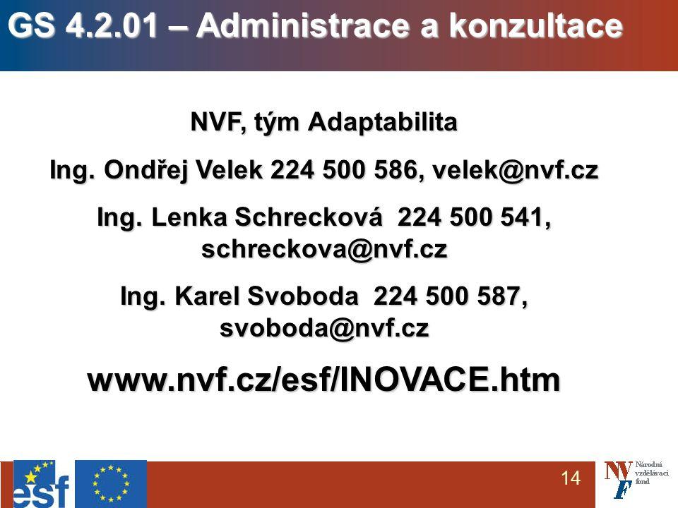 14 NVF, tým Adaptabilita Ing. Ondřej Velek 224 500 586, velek@nvf.cz Ing.