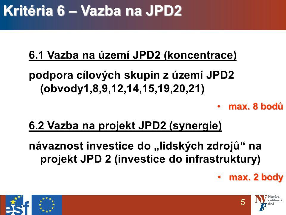5 6.1 Vazba na území JPD2 (koncentrace) podpora cílových skupin z území JPD2 (obvody1,8,9,12,14,15,19,20,21) max.
