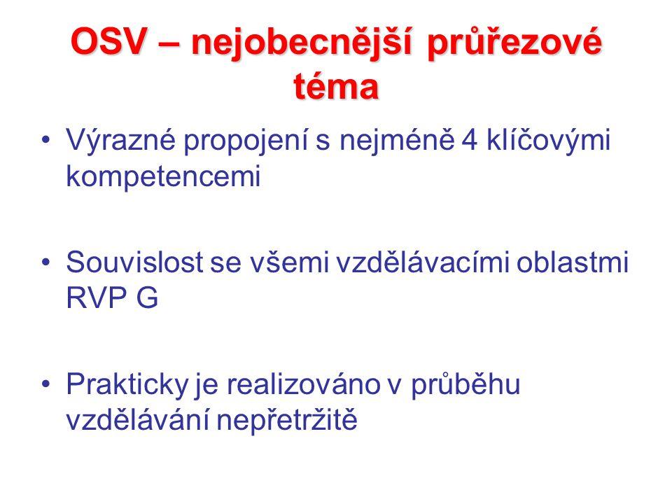 OSV – nejobecnější průřezové téma Výrazné propojení s nejméně 4 klíčovými kompetencemi Souvislost se všemi vzdělávacími oblastmi RVP G Prakticky je re