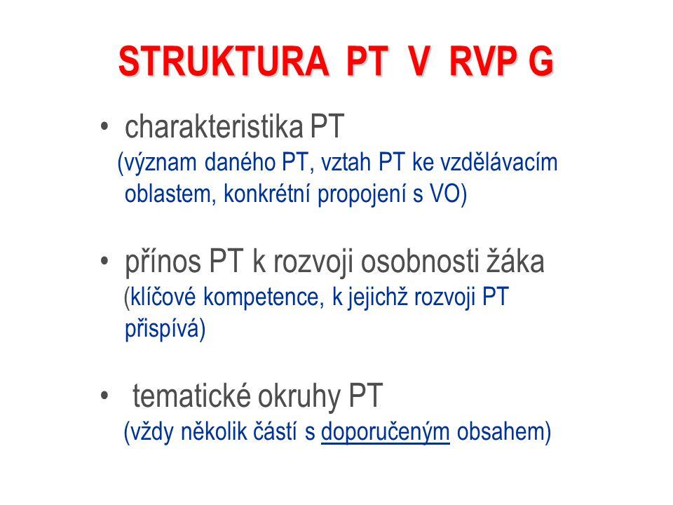 STRUKTURA PT V RVP G charakteristika PT (význam daného PT, vztah PT ke vzdělávacím oblastem, konkrétní propojení s VO) přínos PT k rozvoji osobnosti ž