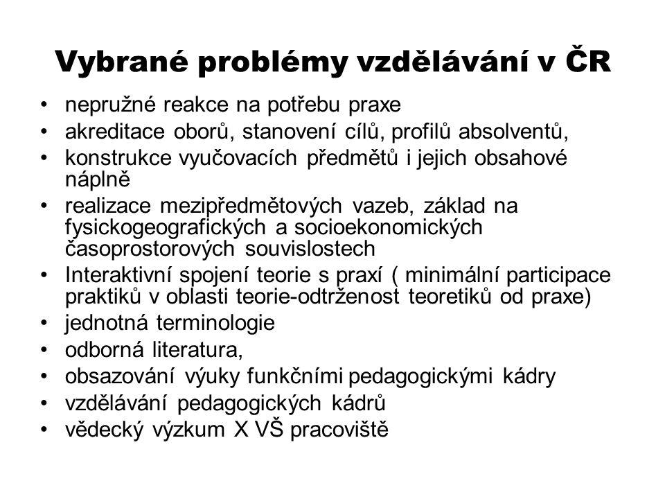 Vybrané problémy vzdělávání v ČR nepružné reakce na potřebu praxe akreditace oborů, stanovení cílů, profilů absolventů, konstrukce vyučovacích předmětů i jejich obsahové náplně realizace mezipředmětových vazeb, základ na fysickogeografických a socioekonomických časoprostorových souvislostech Interaktivní spojení teorie s praxí ( minimální participace praktiků v oblasti teorie-odtrženost teoretiků od praxe) jednotná terminologie odborná literatura, obsazování výuky funkčními pedagogickými kádry vzdělávání pedagogických kádrů vědecký výzkum X VŠ pracoviště
