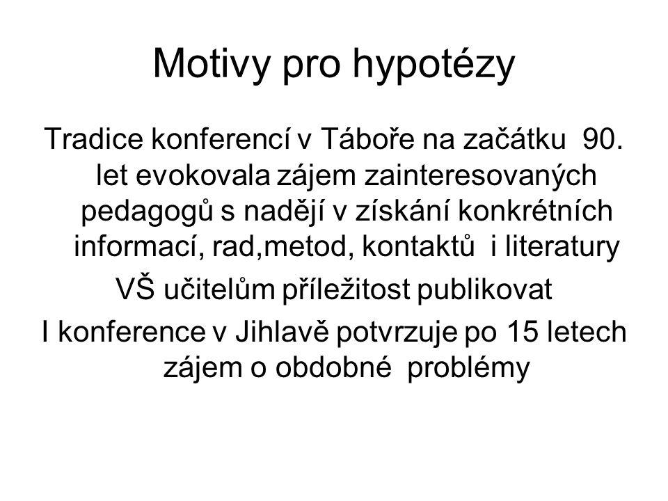 Motivy pro hypotézy Tradice konferencí v Táboře na začátku 90.