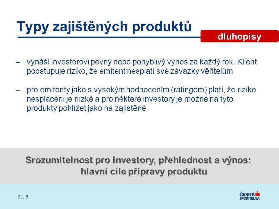 Str. 6 Typy zajištěných produktů –vynáší investorovi pevný nebo pohyblivý výnos za každý rok.