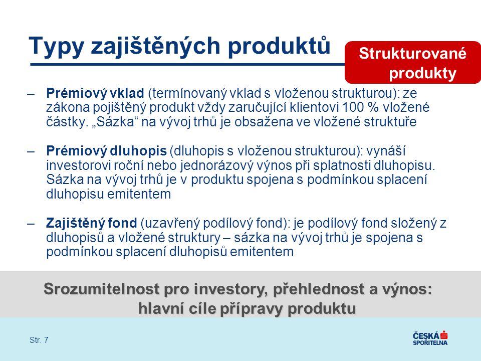 """Str. 7 –Prémiový vklad (termínovaný vklad s vloženou strukturou): ze zákona pojištěný produkt vždy zaručující klientovi 100 % vložené částky. """"Sázka"""""""