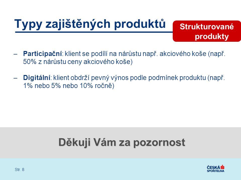 Str. 8 Typy zajištěných produktů –Participační: klient se podílí na nárůstu např.