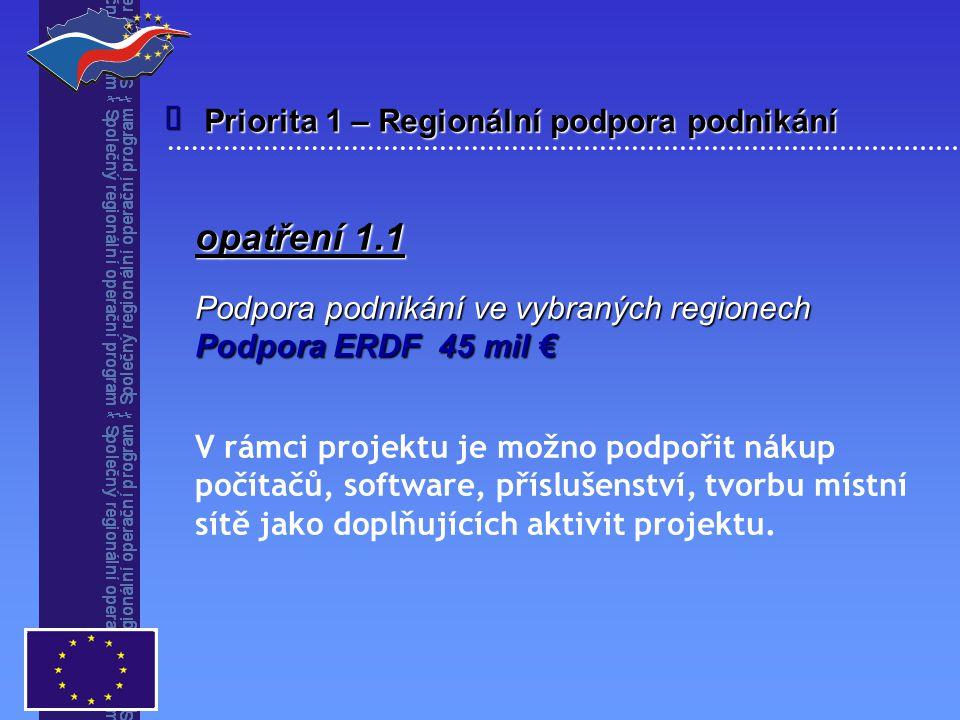 Priorita 1 – Regionální podpora podnikání  opatření 1.1 Podpora podnikání ve vybraných regionech Podpora ERDF 45 mil € V rámci projektu je možno podpořit nákup počítačů, software, příslušenství, tvorbu místní sítě jako doplňujících aktivit projektu.
