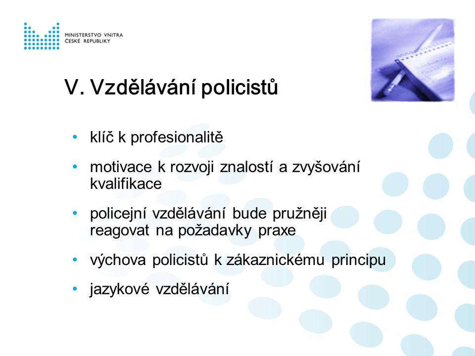 V. Vzdělávání policistů klíč k profesionalitě motivace k rozvoji znalostí a zvyšování kvalifikace policejní vzdělávání bude pružněji reagovat na požad