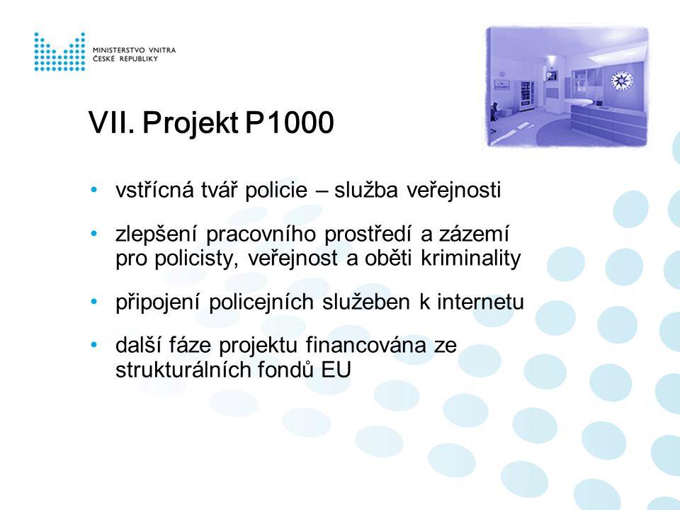 VII. Projekt P1000 vstřícná tvář policie – služba veřejnosti zlepšení pracovního prostředí a zázemí pro policisty, veřejnost a oběti kriminality připo