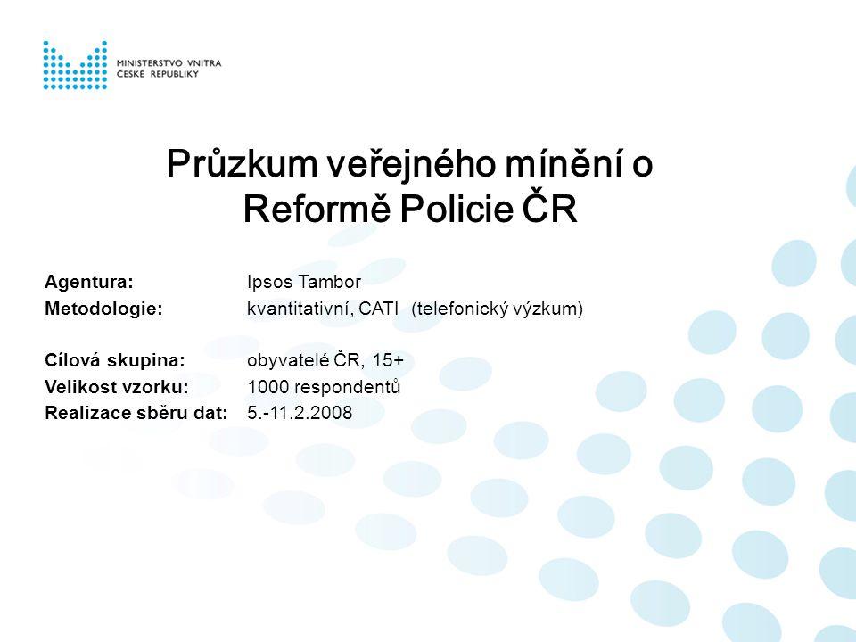 Průzkum veřejného mínění o Reformě Policie ČR Agentura:Ipsos Tambor Metodologie:kvantitativní, CATI (telefonický výzkum) Cílová skupina:obyvatelé ČR,