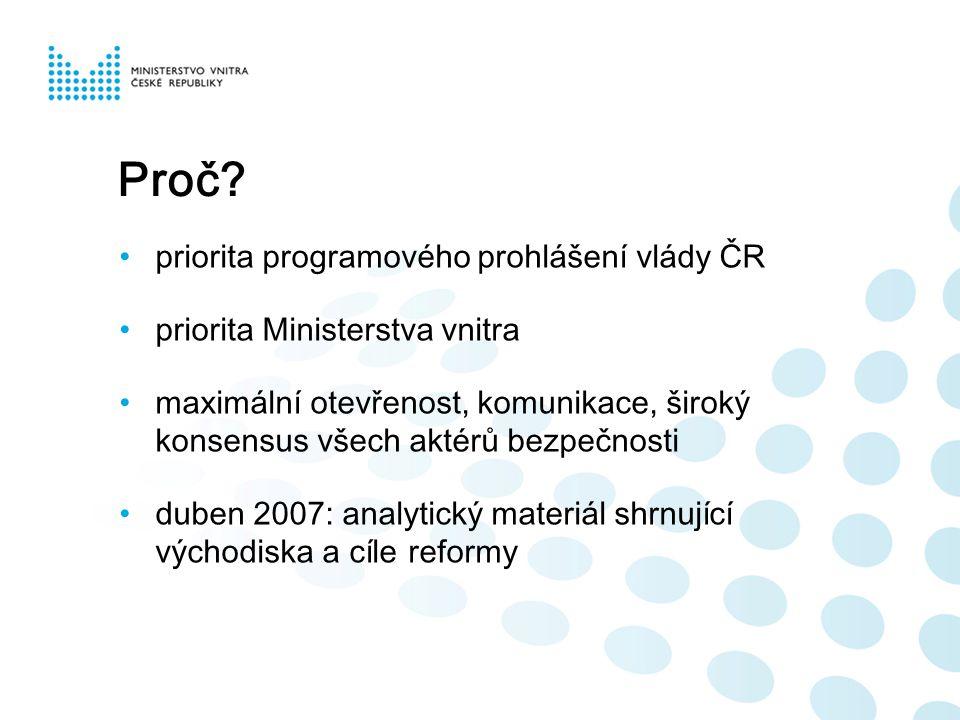Proč? priorita programového prohlášení vlády ČR priorita Ministerstva vnitra maximální otevřenost, komunikace, široký konsensus všech aktérů bezpečnos