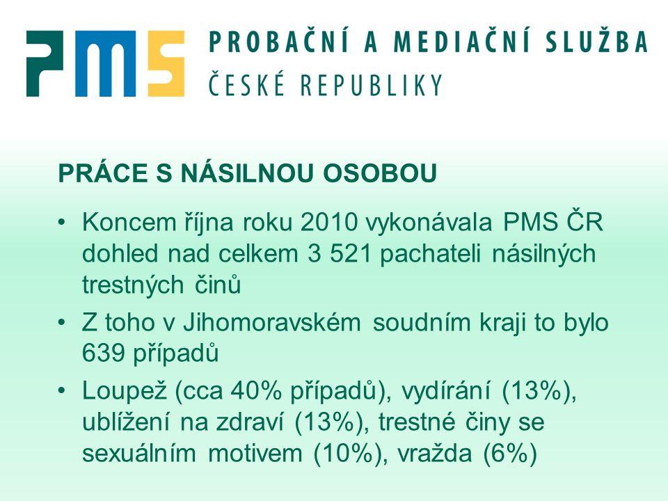 PRÁCE S NÁSILNOU OSOBOU Koncem října roku 2010 vykonávala PMS ČR dohled nad celkem 3 521 pachateli násilných trestných činů Z toho v Jihomoravském sou