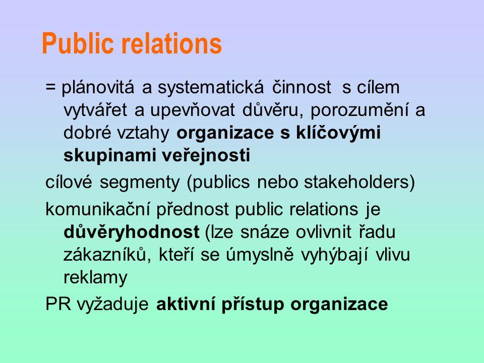 Public relations = plánovitá a systematická činnost s cílem vytvářet a upevňovat důvěru, porozumění a dobré vztahy organizace s klíčovými skupinami veřejnosti cílové segmenty (publics nebo stakeholders) komunikační přednost public relations je důvěryhodnost (lze snáze ovlivnit řadu zákazníků, kteří se úmyslně vyhýbají vlivu reklamy PR vyžaduje aktivní přístup organizace