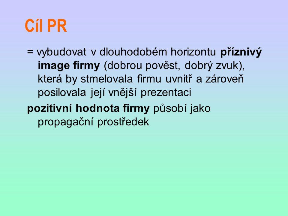 Cíl PR = vybudovat v dlouhodobém horizontu příznivý image firmy (dobrou pověst, dobrý zvuk), která by stmelovala firmu uvnitř a zároveň posilovala jej