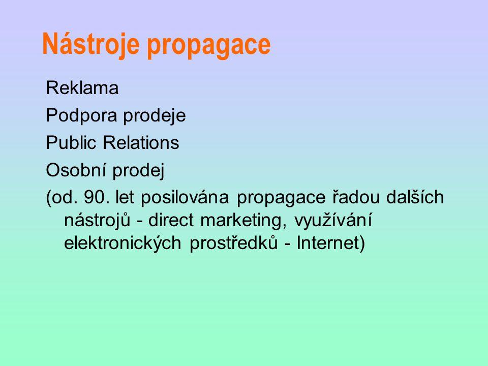 Nástroje propagace Reklama Podpora prodeje Public Relations Osobní prodej (od. 90. let posilována propagace řadou dalších nástrojů - direct marketing,