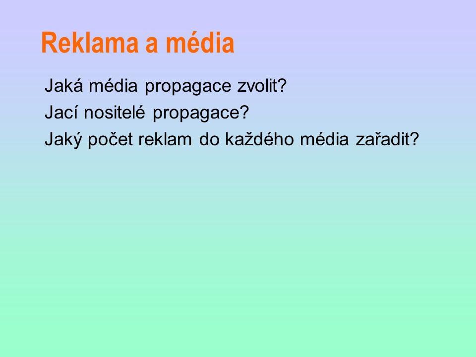 Reklama a média Jaká média propagace zvolit? Jací nositelé propagace? Jaký počet reklam do každého média zařadit?