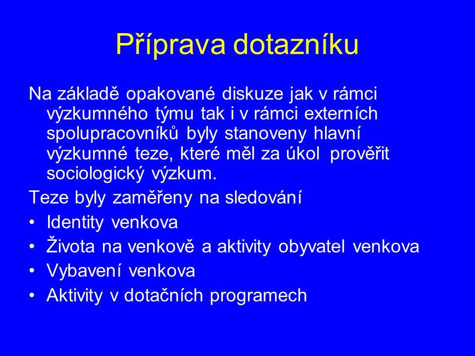 Provedení výkumu Vzorek: n = 900 – obce do 3000 obyvatel Lokalita: celá ČR Termíny terénu: začátek: 10.