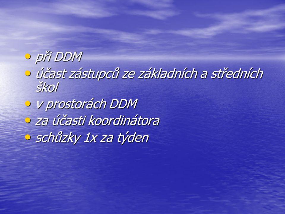 při DDM při DDM účast zástupců ze základních a středních škol účast zástupců ze základních a středních škol v prostorách DDM v prostorách DDM za účasti koordinátora za účasti koordinátora schůzky 1x za týden schůzky 1x za týden