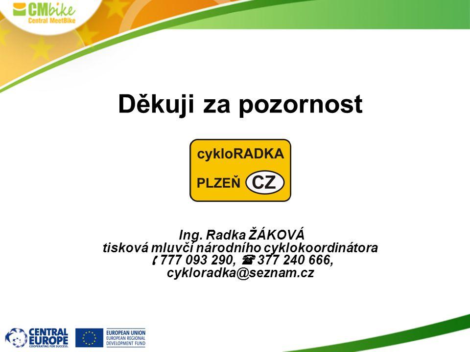 Děkuji za pozornost Ing. Radka ŽÁKOVÁ tisková mluvčí národního cyklokoordinátora  777 093 290,  377 240 666, cykloradka@seznam.cz
