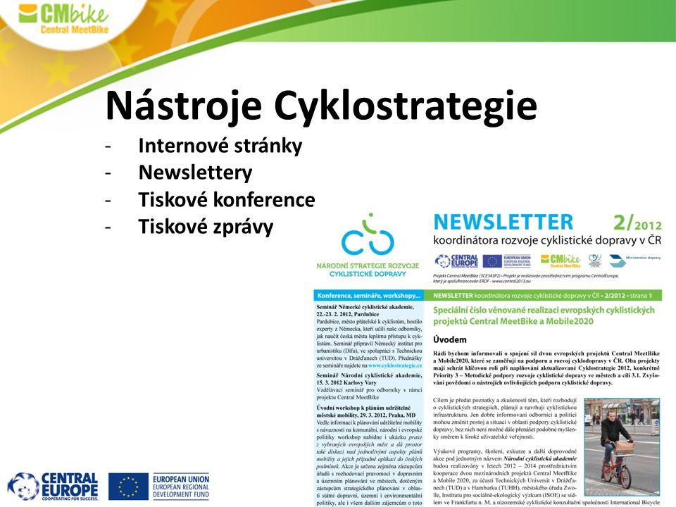 Nástroje Cyklostrategie -Internové stránky -Newslettery -Tiskové konference -Tiskové zprávy