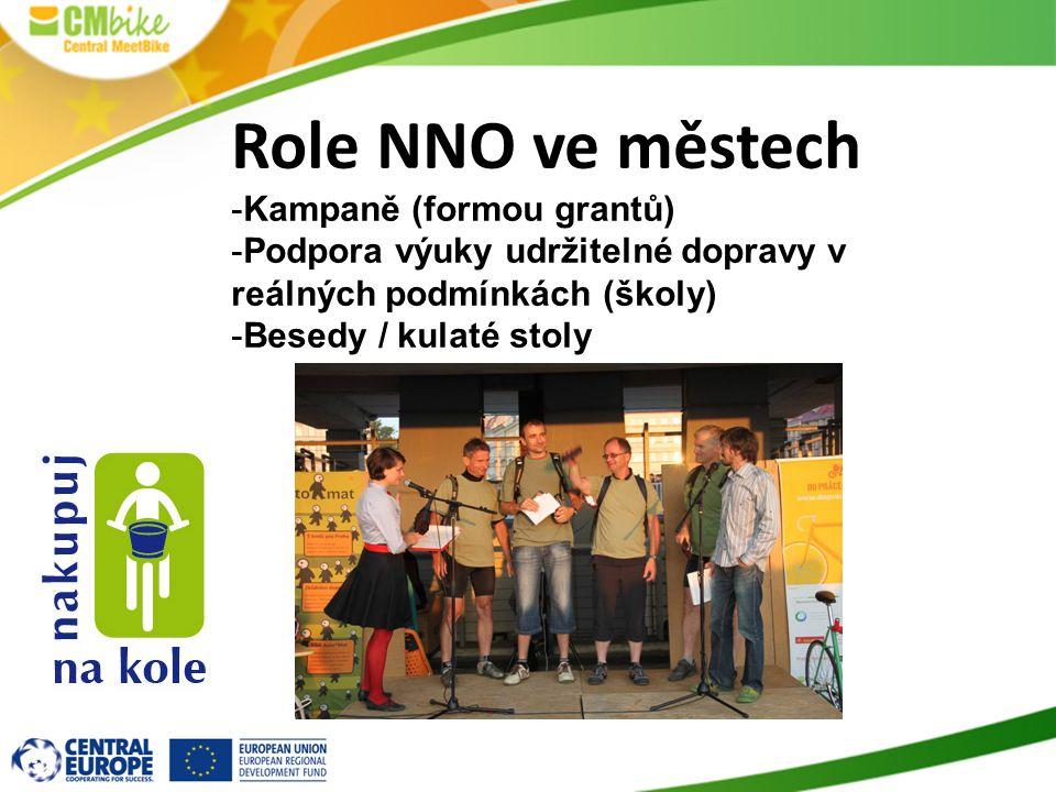 Role NNO ve městech -Kampaně (formou grantů) -Podpora výuky udržitelné dopravy v reálných podmínkách (školy) -Besedy / kulaté stoly