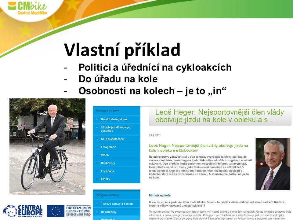 """Vlastní příklad -Politici a úřednící na cykloakcích -Do úřadu na kole -Osobnosti na kolech – je to """"in"""""""