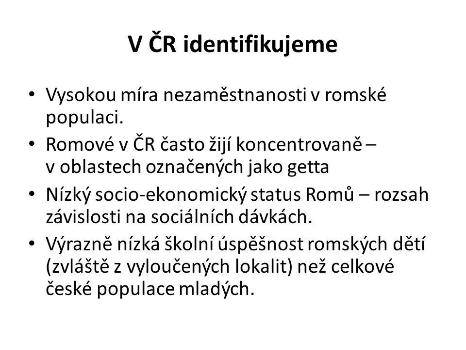 V ČR identifikujeme Vysokou míra nezaměstnanosti v romské populaci.