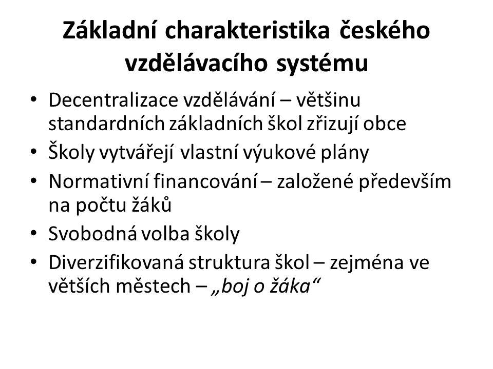 """Základní charakteristika českého vzdělávacího systému Decentralizace vzdělávání – většinu standardních základních škol zřizují obce Školy vytvářejí vlastní výukové plány Normativní financování – založené především na počtu žáků Svobodná volba školy Diverzifikovaná struktura škol – zejména ve větších městech – """"boj o žáka"""