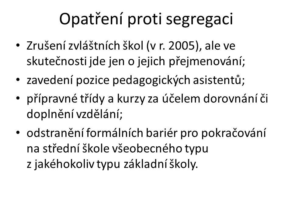 Opatření proti segregaci Zrušení zvláštních škol (v r. 2005), ale ve skutečnosti jde jen o jejich přejmenování; zavedení pozice pedagogických asistent